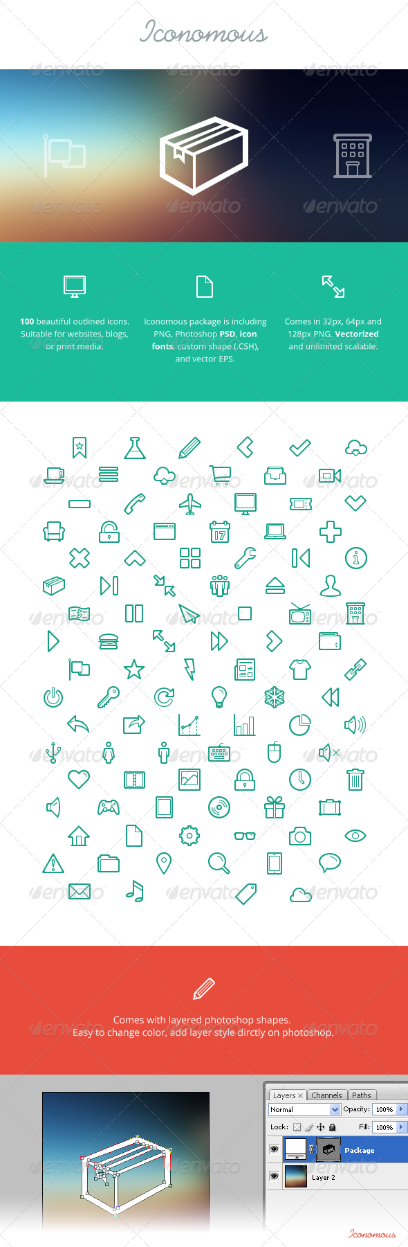 Iconomous - 100 Outlined Icons - Web Icons