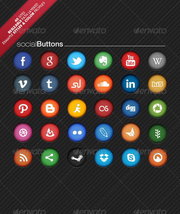 Colorful Social Network Buttons - Buttons Web Elements