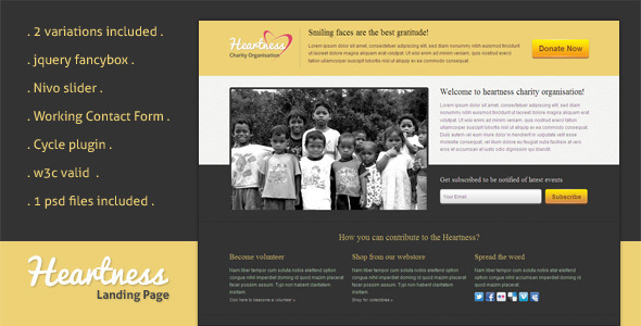 Heartness – Fundraising / Donation Landing Page