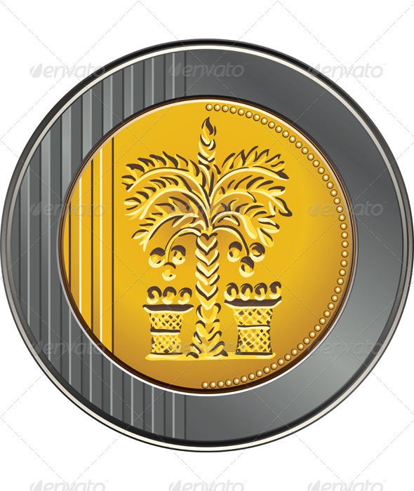 Vector Israeli shekel coin with the image of the d - Man-made Objects Objects