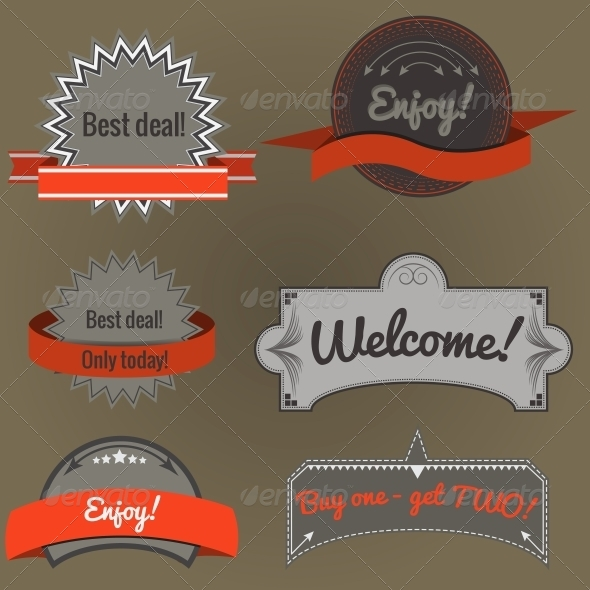 Set of Retro Labels - Retail Commercial / Shopping