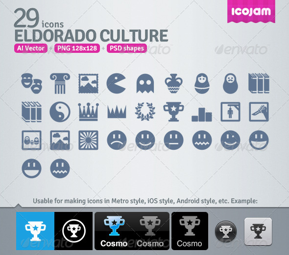29 AI and PSD Culture strict Icons  - Man-made objects Objects