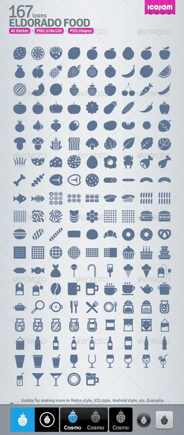 167 AI and PSD Food strict Icons  - Food Objects
