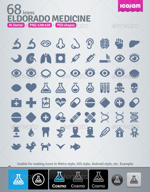 68 AI and PSD Medicine strict Icons  - Technology Icons