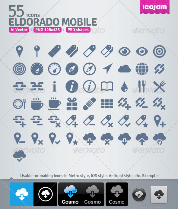55 AI and PSD Mobile strict Icons - Technology Icons