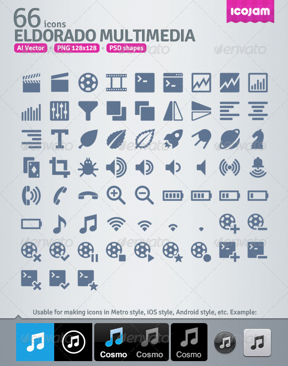 66 AI and PSD Multimedia strict Icons  - Media Icons