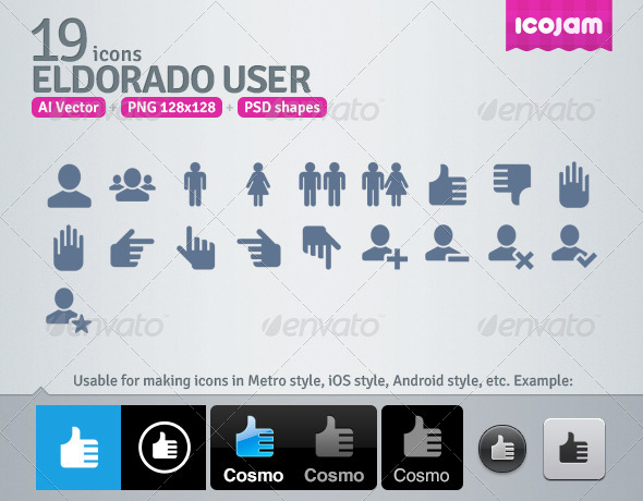 19 AI and PSD User strict Icons - People Characters