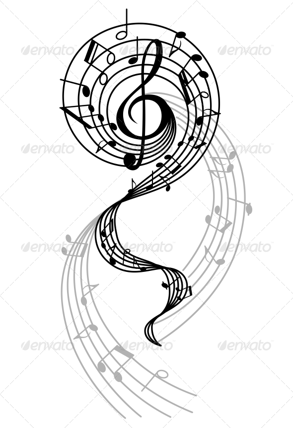 Abstract Musical Swirl with Notes and Sounds - Miscellaneous Vectors
