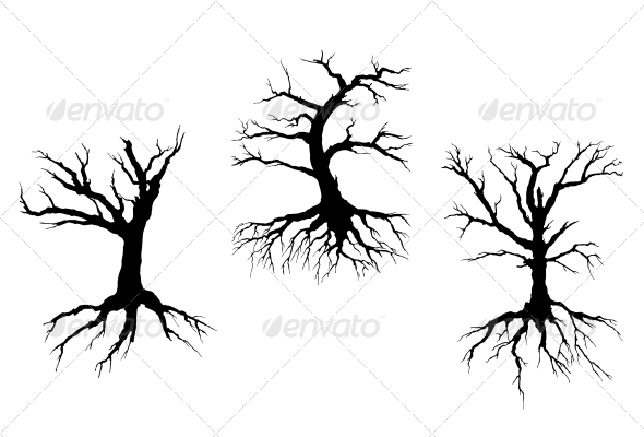 Dead Trees with Stem and Roots - Miscellaneous Vectors