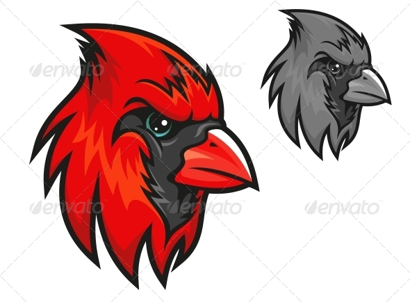 Red Cardinal Bird in Cartoon Style - Animals Characters
