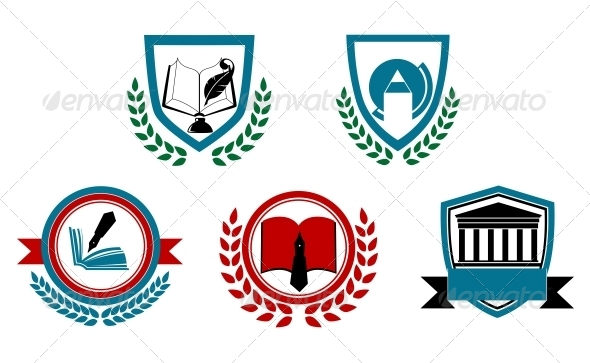 Set of Abstract University or College Symbols - Decorative Symbols Decorative