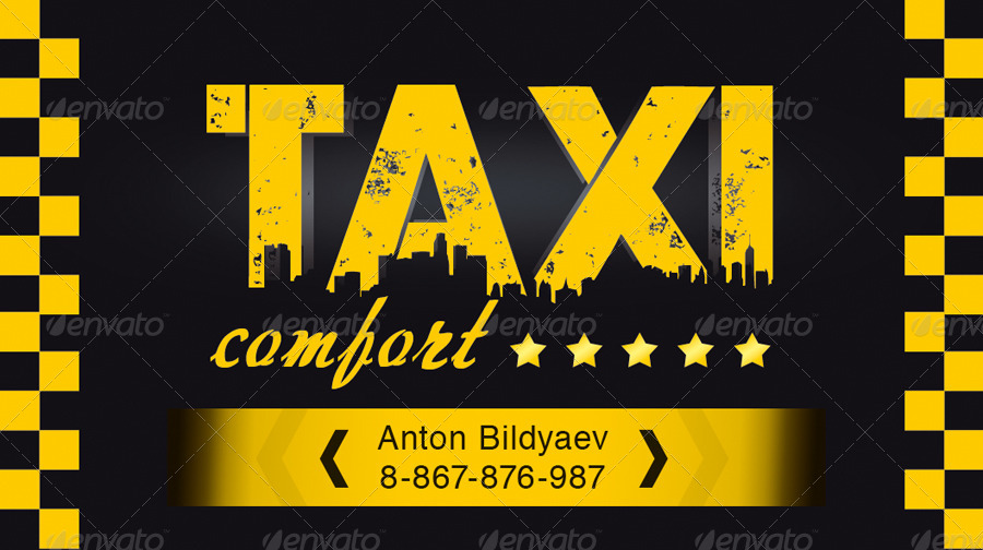 Taxi Comfort Business Card By Antonbildyaev Graphicriver