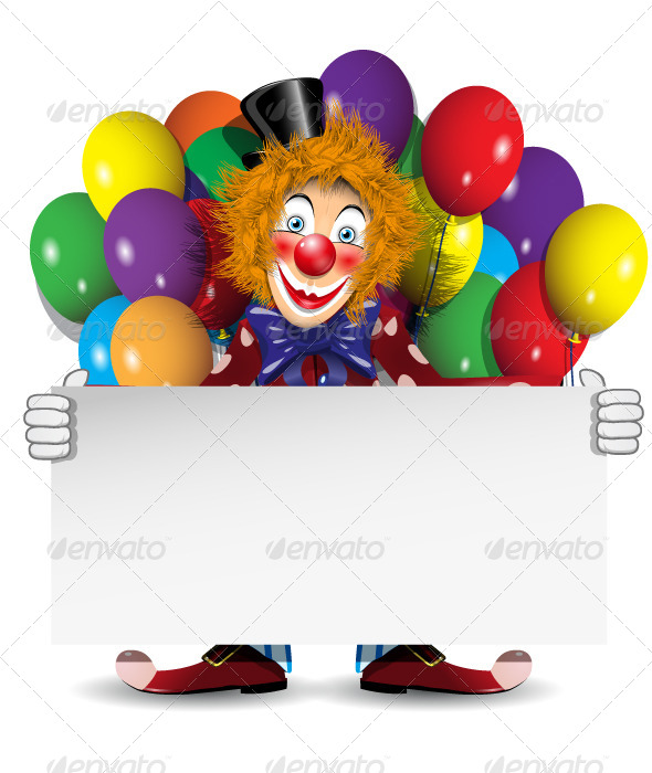 Clown with a Banner and Balloons - People Characters