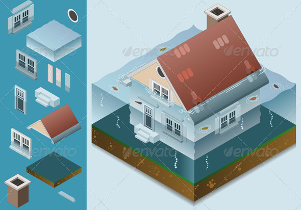 Isometric Flooded House - Conceptual Vectors