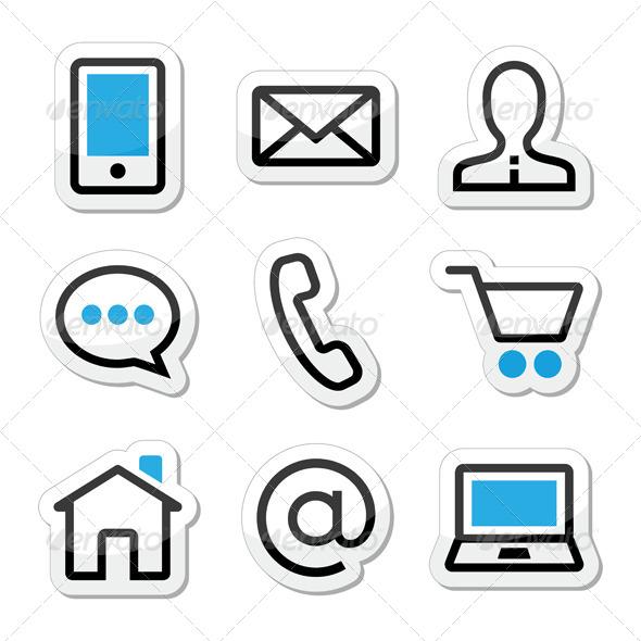 Contact Web Stroke Icons Set  - Web Technology