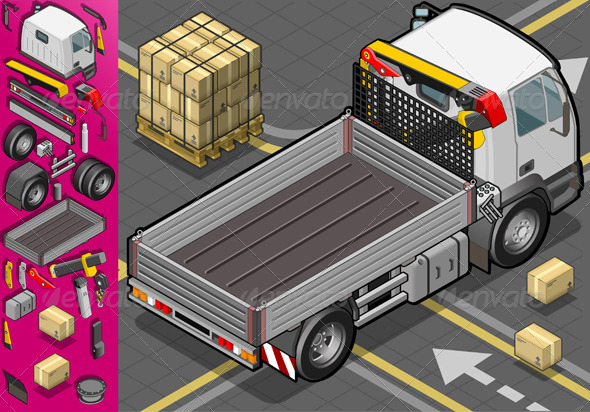 Isometric Container Truck in Rear View - Objects Vectors