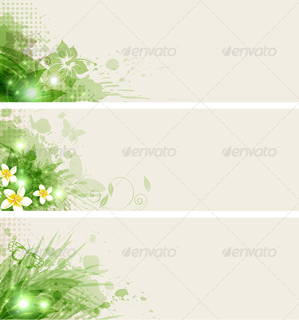 Green Abstract Banners - Backgrounds Decorative