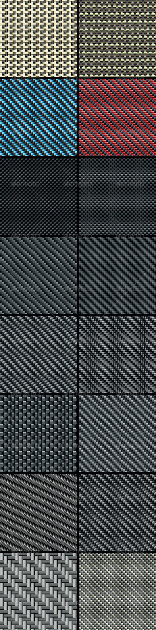 Carbon, Kevlar and Decorative Fabric - Set Four - Patterns Decorative