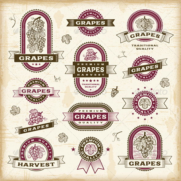 Vintage Grapes Labels Set - Decorative Symbols Decorative
