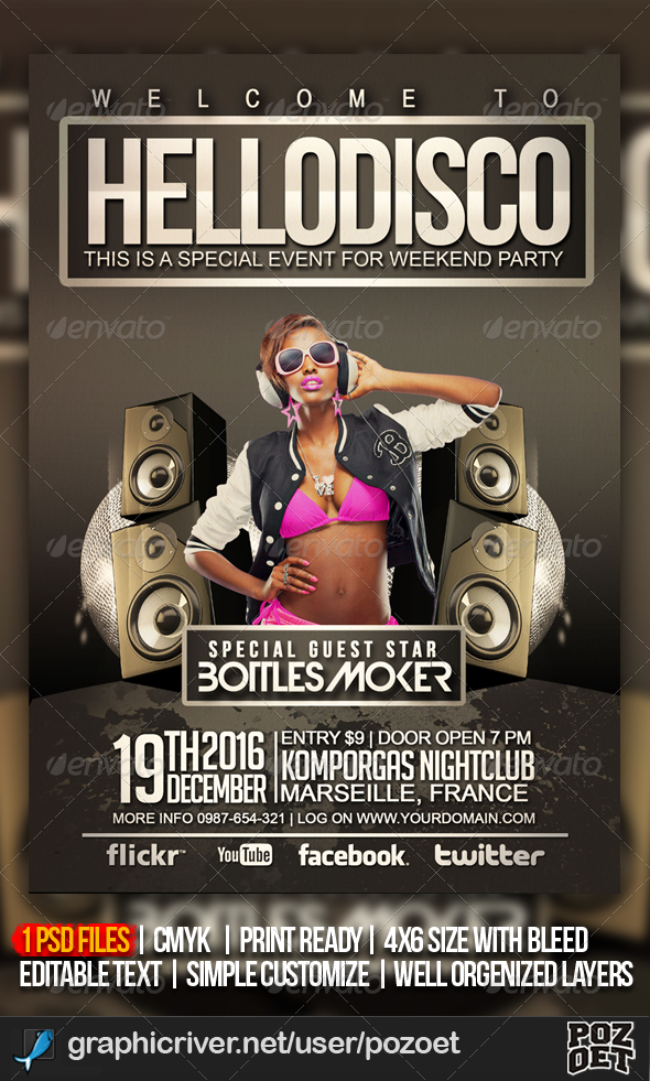 disco party flyer graphics designs templates