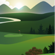 Golf Course; Golfers on the Greens Landscape - GraphicRiver Item for Sale