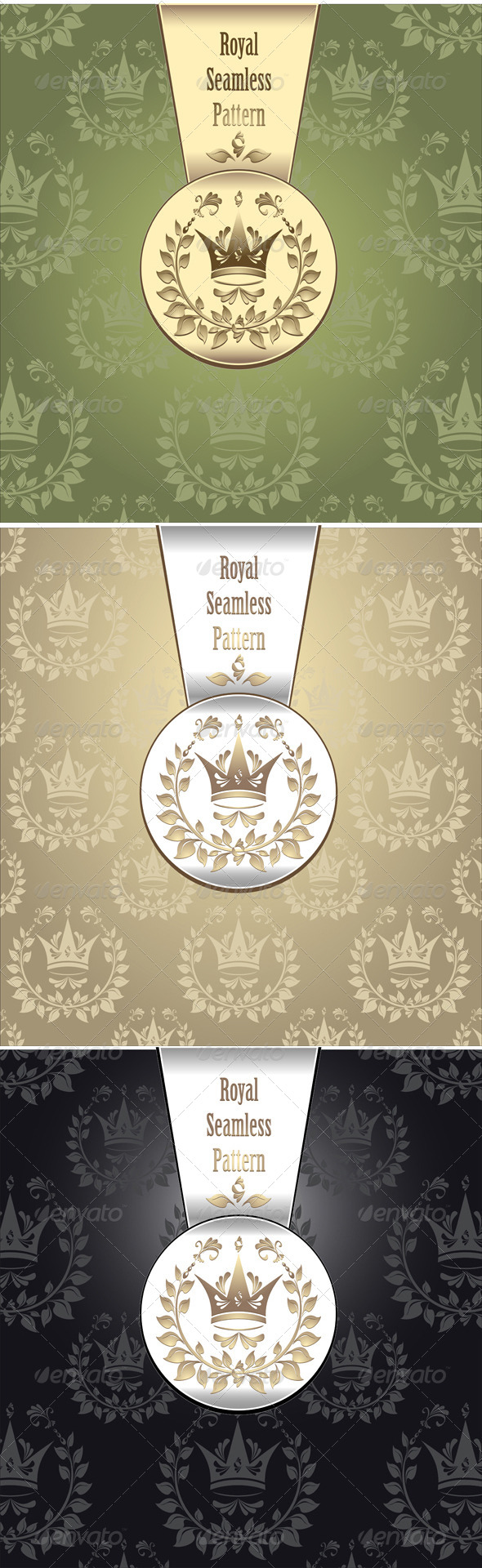 Royal Seamless Pattern with Crown Wreath - Patterns Decorative