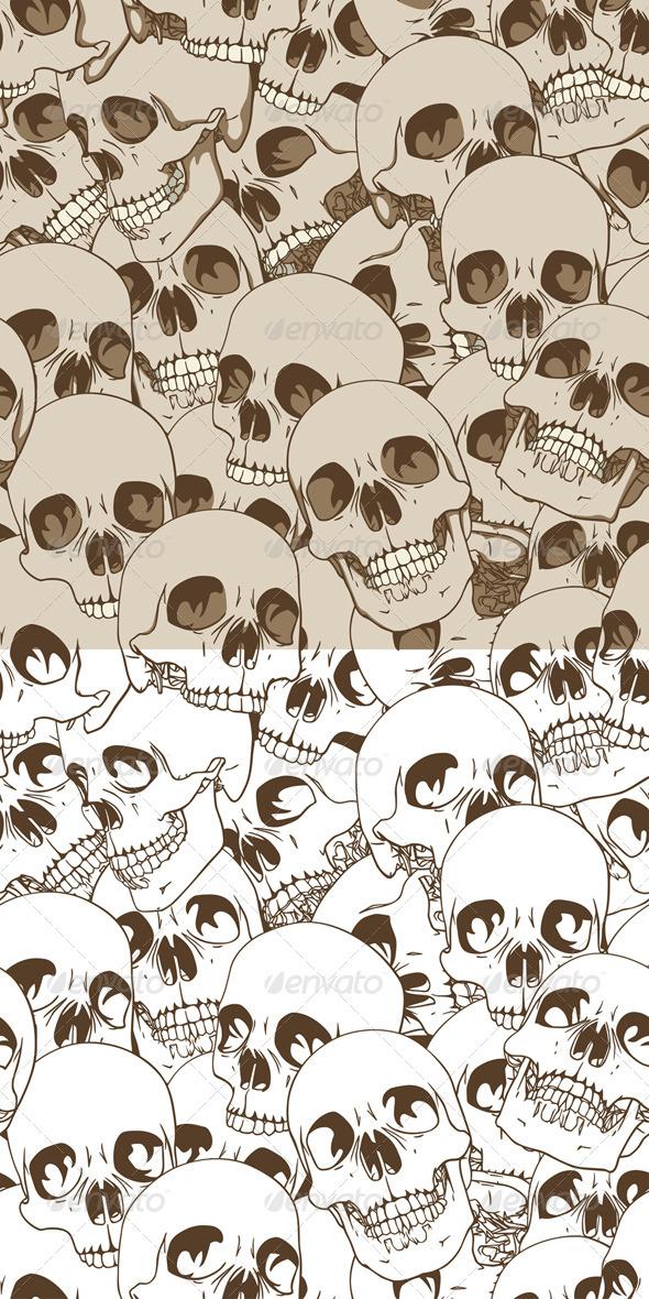 Human Skulls Seamless Background - Patterns Decorative