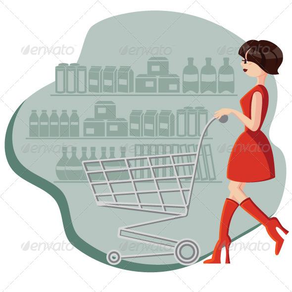 Woman Shopping - Vectors