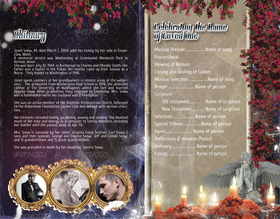 Funeral Program Brochure Template  By Webm  Graphicriver