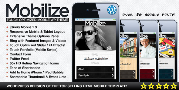 Image of Mobilize - jQuery Mobile WordPress Theme