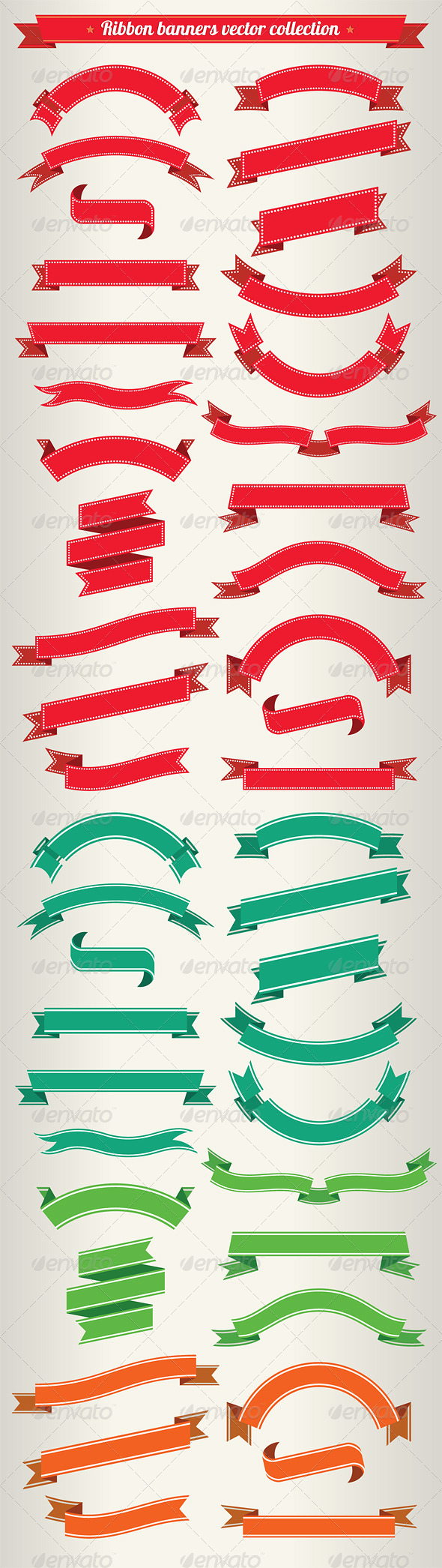 Ribbon Banners Vector Collection - Flourishes / Swirls Decorative