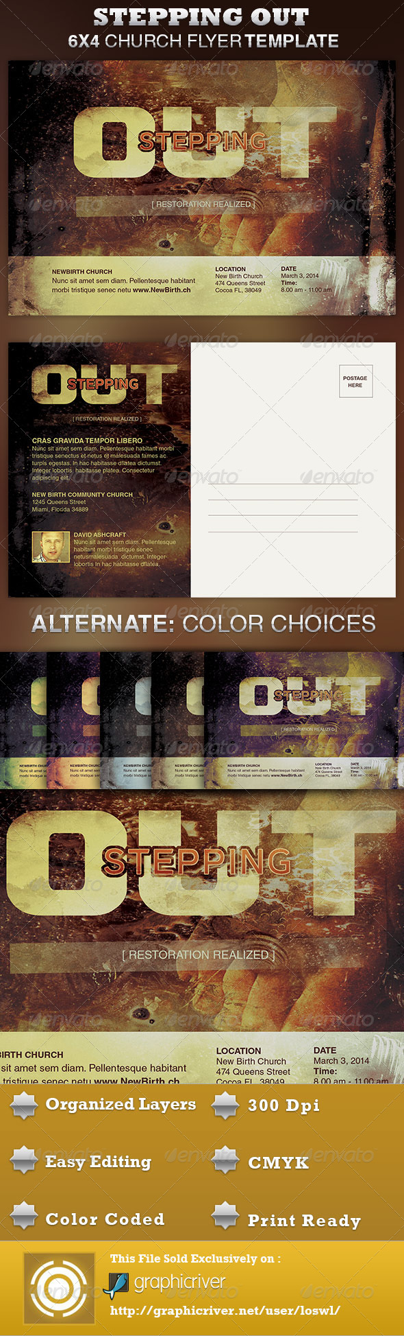 Stepping Out Church Flyer Template - Invitations Cards & Invites