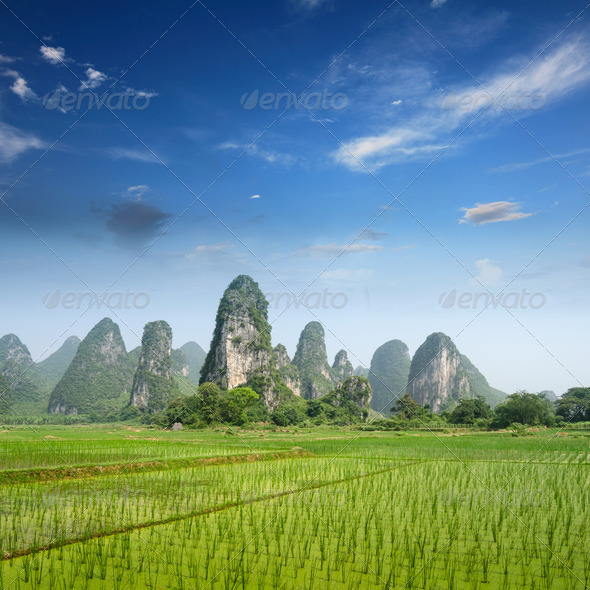 Typical landscape in Yangshuo Guilin, China - Stock Photo - Images
