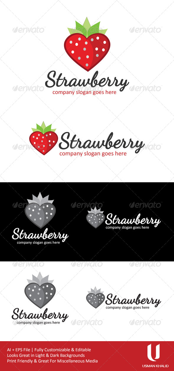 Strawberry - Food Logo Templates