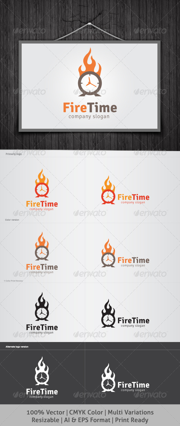 Fire Time Logo - Symbols Logo Templates