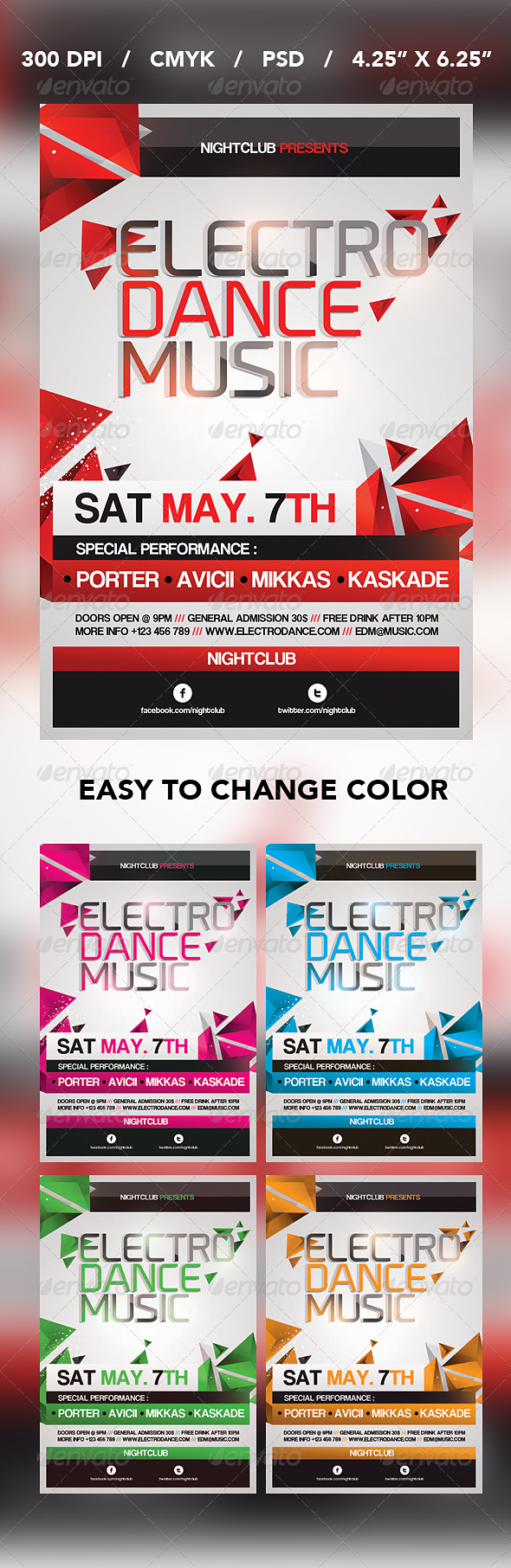 Electro Dance Music Flyer  - Events Flyers