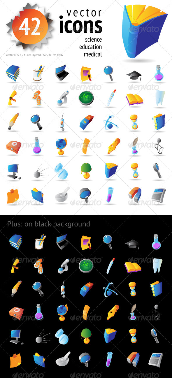 Vector Icons for Science and Education - Man-made objects Objects