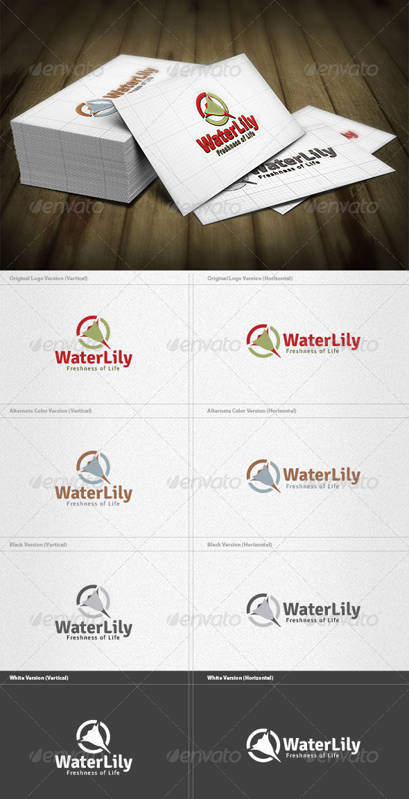 Water Lily Logo - Nature Logo Templates