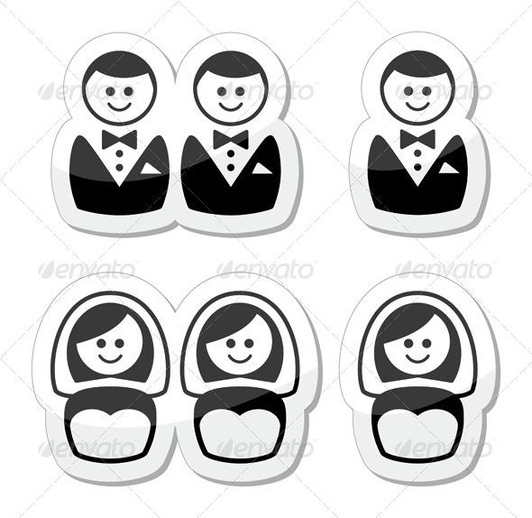 Gay and Lesbian Marriage  Icons Set - Weddings Seasons/Holidays
