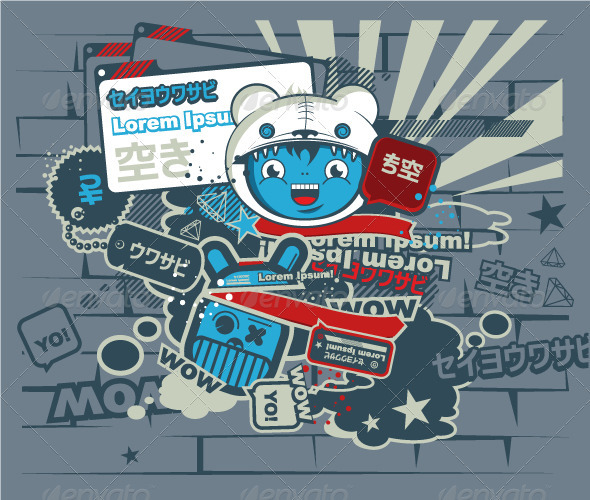 Graffiti blue character in the Japanese style.  - Characters Vectors