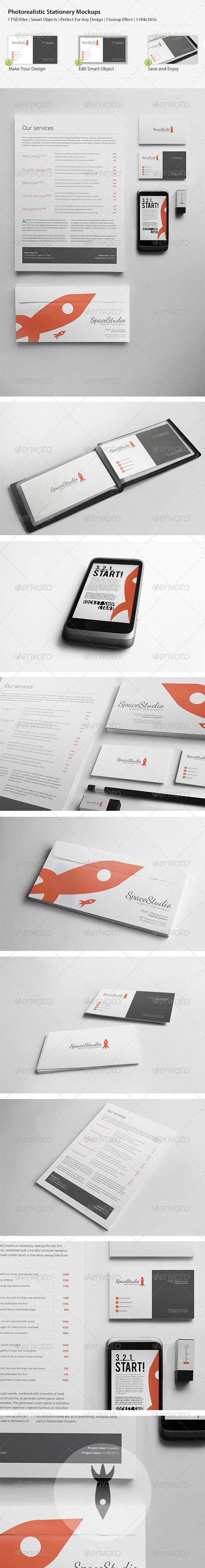 Photo Realistic Stationary/Brand Identity Mockups - Print Product Mock-Ups