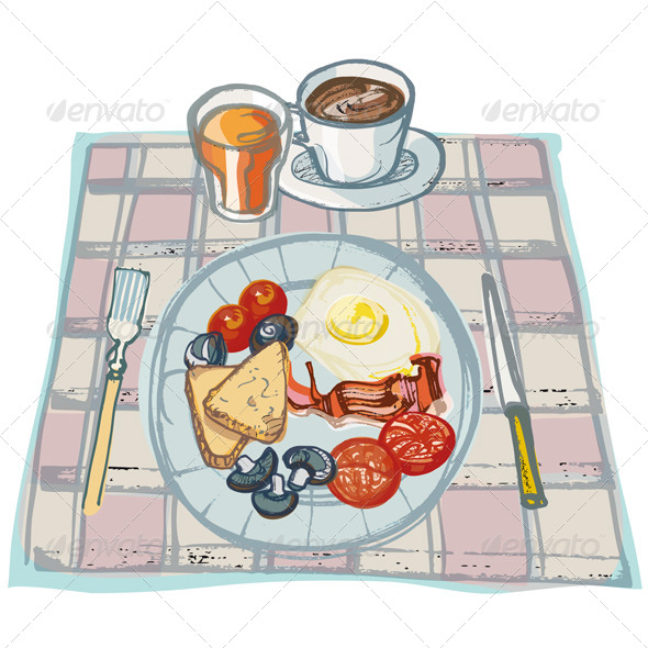 Breakfast on Table - Food Objects