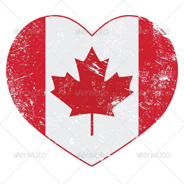 Canada Heart Retro Flag - Travel Conceptual