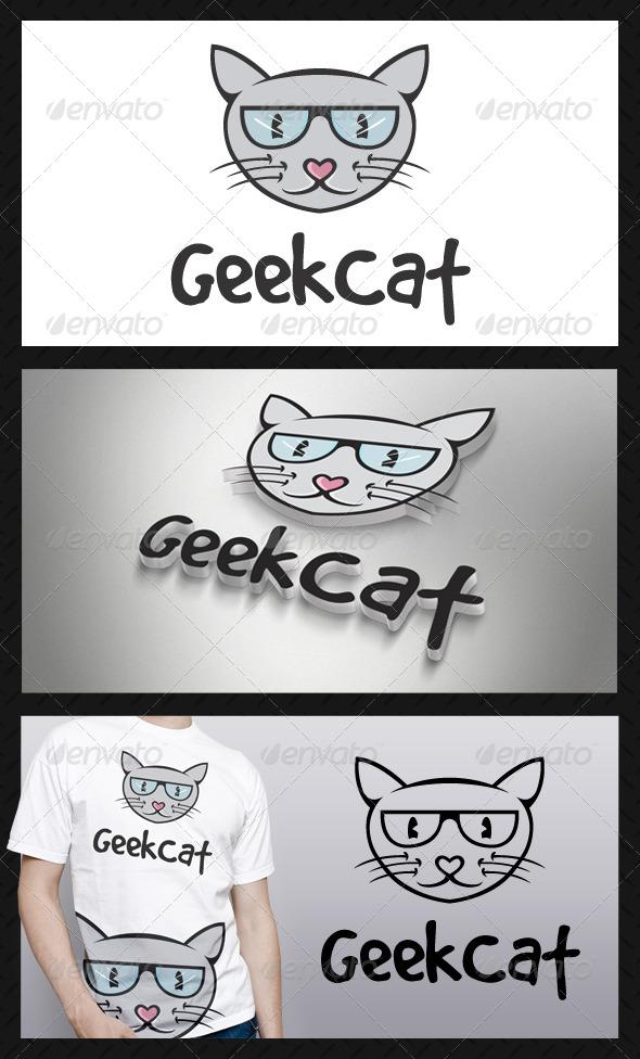 Geek Cat Logo Template - Animals Logo Templates