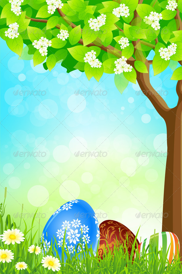 Green Tree Background with Easter Eggs - Landscapes Nature