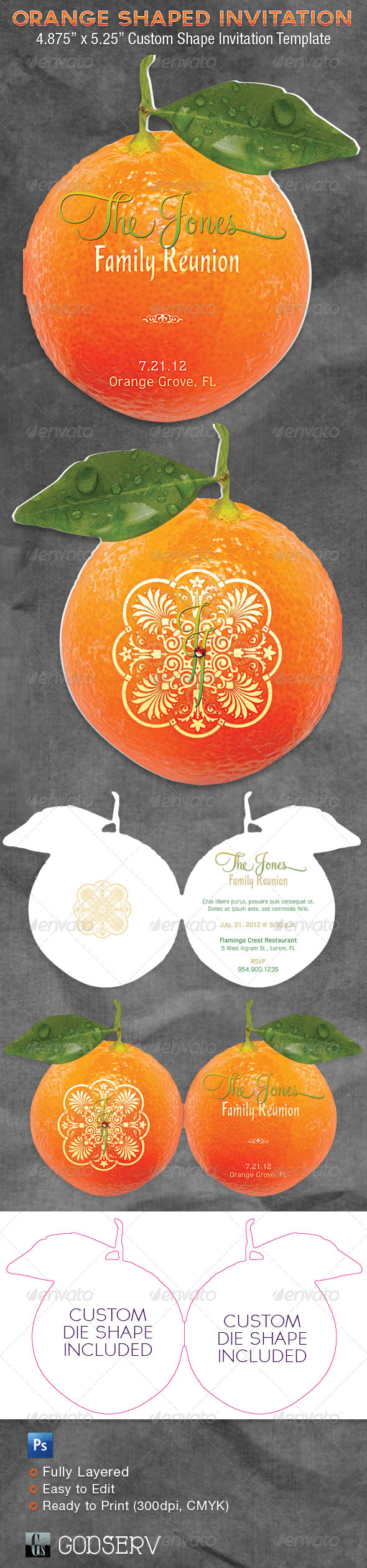 Orange Shaped Invitation Card Template - Invitations Cards & Invites