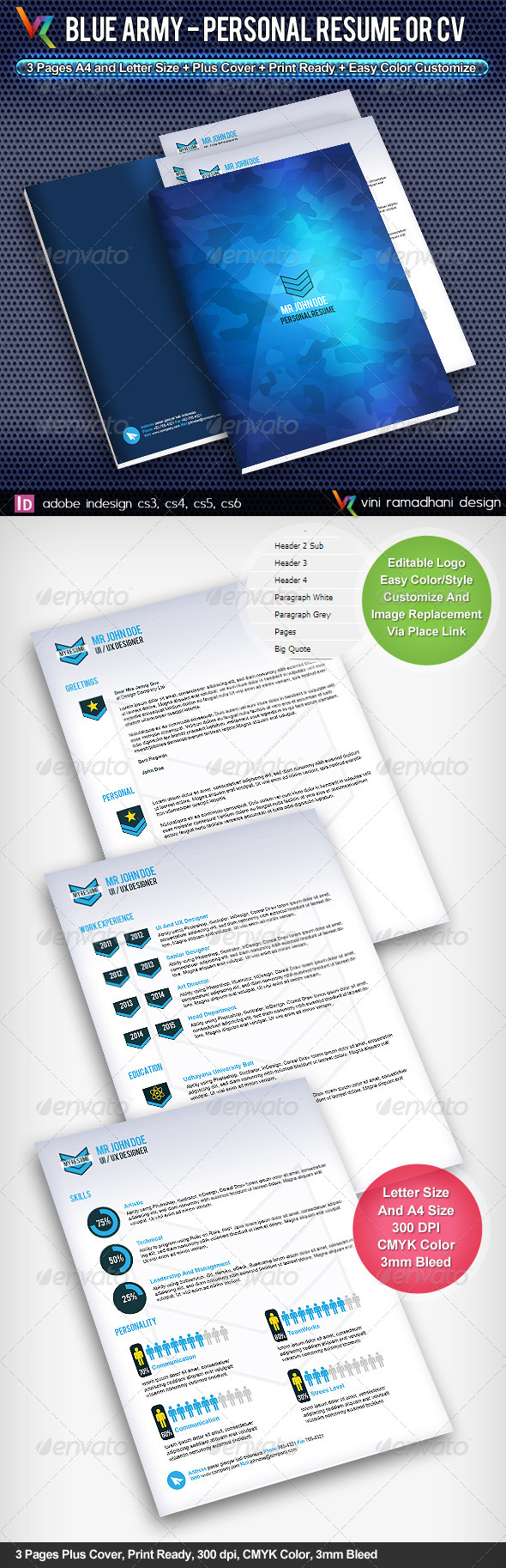 Blue Army Resume Or CV - Resumes Stationery