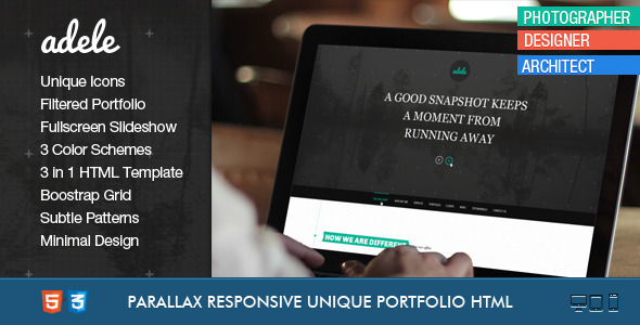 Adele - Boostrap Responsive & Clean HTML5 Template - Photography Creative