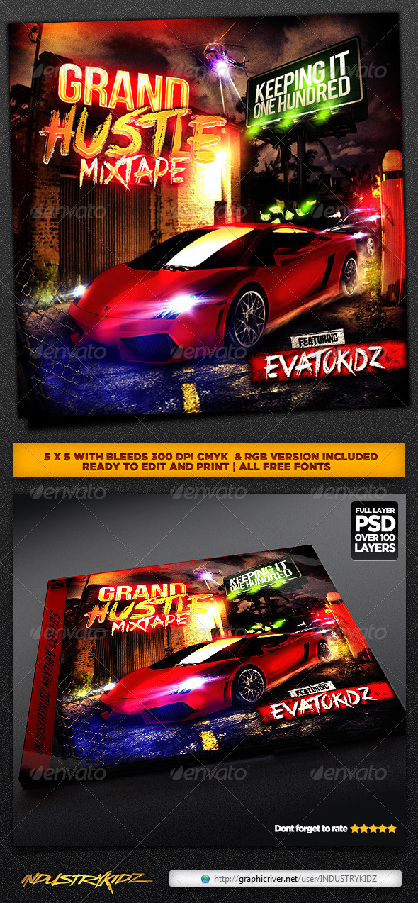 Hip Hop Mixtape CD Cover - CD & DVD Artwork Print Templates