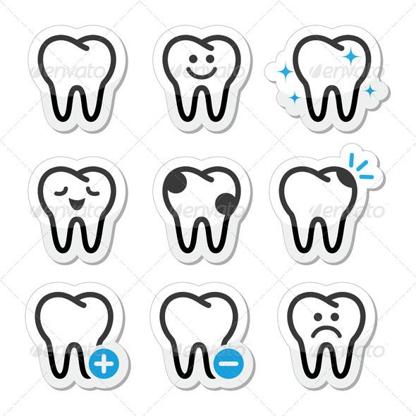 Tooth , Teeth Vector Icons Set  - Health/Medicine Conceptual